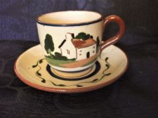 OLD DEVON WARE MOTTO POTTERY COTTAGE SMALL CUP & SAUCER THEY DRINK LIVE LONGEST
